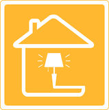 Icon with lamp and house Stock Photos