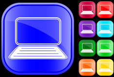 Icon of laptop. Icon of a laptop on shiny square buttons Royalty Free Stock Images