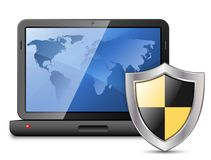 Icon of laptop with protective shield stock photography