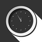 Icon - last minute clock with shadow. Black icon - last minute clock with white stylized shadow stock illustration