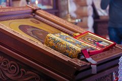 Icon on the lectern in Orthodox Church. CHAPAEVSK, SAMARA REGION, RUSSIA - MARCH 18, 2019: Church of the Kazan icon of the Mother of God in Chapaevsk. Icon on stock image