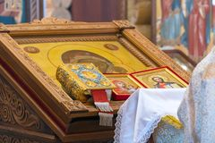 Icon on the lectern in Orthodox Church. CHAPAEVSK, SAMARA REGION, RUSSIA - MARCH 18, 2019: Church of the Kazan icon of the Mother of God in Chapaevsk. Icon on royalty free stock photos