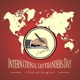 Left hand grip icon. Icon left hand writing `lefthanders` with a ballpoint, which is celebrated on August 13 with a background map world stock illustration