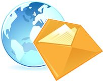 Icon of letter and globe Royalty Free Stock Image