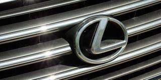 Icon Lexus. Lexus icon on the front grille of the car Royalty Free Stock Photos