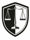 Icon libra with laurel wreath   shield black and white . justice Stock Photography