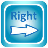 Icon light blue to the right Stock Image