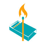 Icon lighted match. With a box of matches. two colors Royalty Free Stock Photography