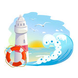 Icon with lighthouse and wave Royalty Free Stock Image