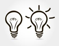 The icon lights on and off. The light bulb turned on and off stock illustration