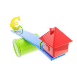 Icon-like house and euro sign on the teeter totter. Mortgage and leverage conception: icon-like house and euro sign on the different sides of the teeter totter royalty free stock images
