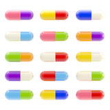 Icon-like set of  pills isolated on white Stock Images