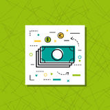 Icon Line - Banknotes at green. Vector thin line icon of banknotes and coins. Concept on green background in modern art style Royalty Free Stock Photography