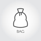 Icon in line style of canvas bag for storing crops, sugar, flour and other products. Culinary and harvest concept. Vector simplicity illustation Stock Photo