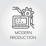 Icon in line style symbolizing modern production and contemporary computer technology. Vector pictograph Stock Photography