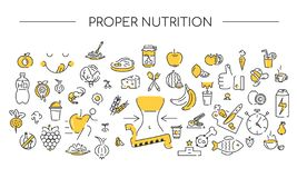 Icon linear background. Proper nutrition. Healthy icons set. Lifestyle texture two colors. Icon linear background. Proper nutrition. Healthy icons set. Flat royalty free illustration