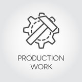 Icon in linear style of gear wheel and hammer. Concept of production work. Contour pictogram, web graphic button. Icon in linear style of gear wheel and hammer Royalty Free Stock Image