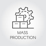 Icon in linear style of gear wheel. Mass production and modern machinery equipment concept. Contour pictogram. Or infographic element for different design needs stock illustration