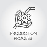 Icon in linear style of the robot arm collecting detail. Industrial modern equipment and production processing concept Stock Photos