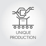 Icon in linear style of unique production concept. Pictogram, button or infographic element for different projects Royalty Free Stock Images