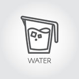 Icon in linear style with water jug or other abstract drink. Cookery simplicity pictograph. Vector illustration Royalty Free Stock Images