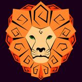 Icon of a lion with a dizzying mane. Vector Royalty Free Stock Photography