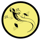 Icon lizard. On a yellow background Stock Image