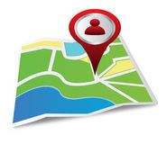 Location on a map. Icon of location and map  on white Royalty Free Stock Image