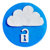 Icon with lock inside. White lock icon in a blue circle made of plasticine. Security of cloud storage. Object isolated on white background Royalty Free Stock Images