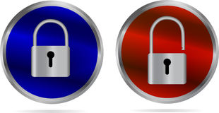 Icon - lock and Unlock. Stainless steel icon - Lock and Unlock Stock Photography