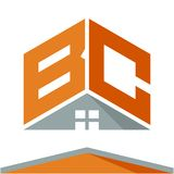 Icon logo for construction business with the concept of roofs and combinations of letters B & C. Business logo icon for business development of construction stock illustration