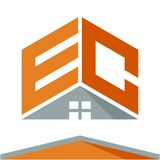 Icon logo for construction business with the concept of roofs and combinations of letters E & C. Business logo icon for business development of construction stock illustration
