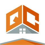 Icon logo for construction business with the concept of roofs and combinations of letters Q & C. Business logo icon for business development of construction Stock Photo