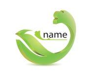Icon logo green wavy petal. Logo green environmental petals flourish with a wave on a white background Stock Photos
