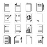 Icon or Logo in modern line style. Document or paper icons. Modern line art design. For web sites, brochures, apps and others. Set of 16 variations. Vector Stock Images