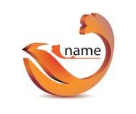 Icon logo orange wavy petal.  Royalty Free Stock Images