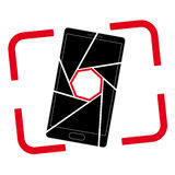 Icon or logo with a picture of a smartphone. Aperture and frame of the viewfinder. A simple image Stock Illustration