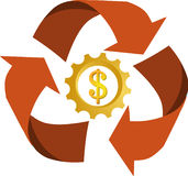 Icon / logo of recycle with money. Icon of recycle with money, vector file Stock Images