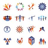 Icon & logo set-business people,family,team. Collection set of icons, logos and design elements related to community, business people, office staff, family Royalty Free Stock Image