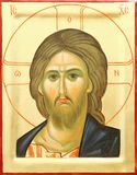 Icon of the Lord Jesus Christ. Representation of Jesus Christ face on wooden icon with gilding Royalty Free Stock Photography