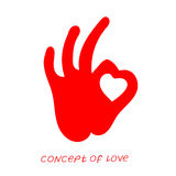 Icon of love. Vector illustration, metaphor of passion. Template for Valentine`s day. Helpful element for web design and print. Editable  with a wide range of Stock Photography