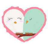 Icon lovers, a pair of birds in a heart on a white background. c. Ute pattern to decorate or congratulations for a wedding or Valentine`s day.vector illustration Royalty Free Stock Images