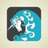 Icon of magic mythical unicorn with a horn Royalty Free Stock Photography