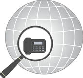 Icon with magnifier and office phone in planet Royalty Free Stock Photo