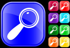 Icon of magnifying glass. On shiny square buttons Royalty Free Illustration
