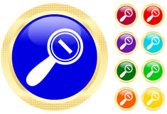 Icon of magnifying glass Stock Image