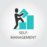 Icon of man builds graph, self-management concept. Vector icon of man builds a graph, self-management concept. Simple label. Logo drawn in flat style. Black and Royalty Free Stock Photography
