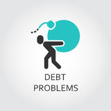 Icon of man carries a bomb, debt problems concept. Icon of man silhouette carries a bomb, debt problems concept. Vector graphics in flat style. Simple label for Royalty Free Stock Image