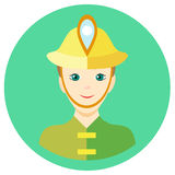 Icon man firefighter in a flat style. Vector image on a round colored background. Element of design, interface. Image in Stock Image