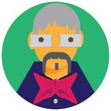 Icon man grand-dad. Icon, picture of man, grand-dad spectacled, tie butterfly, grey with moustaches vector illustration